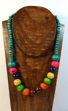 vintage boho hippie Halskette Holz-Perlen 80er wood collier Beach Damen Ethnno