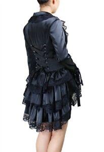 Ladies Black Gothic Victorian Steampunk Satin Corset Bustle Coat Jacket Size 10
