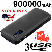 Fast Charger 900000mAh Power Bank Portable Universal External Battery LED&LCD
