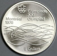 1975 Canada Montreal Olympic Swimming 5 Dollars BU Silver Coin 0.72oz (19072103R