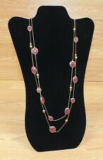 Gold Tone Women's Long Faux Fashion Necklace With Maroon Accents **READ**