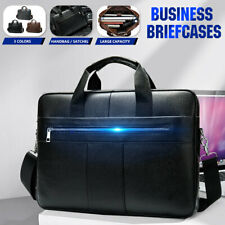 Men's Business Cowhide Leather Briefcase Handbag Work Laptop Shoulder Travel