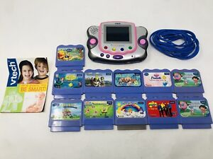Vtech Vsmile Learning System w/ Lot of 11 Cartridges Care Bears Sponge Bob Etc