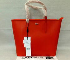 Lacoste Ladies Orange Chantaco Piqué Leather Zip Tote Weekend Bag BNWT RRP £275