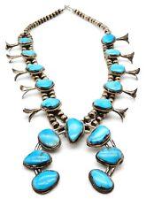 VINTAGE Sterling Silver / Turquoise Navajo Squash Blossom Necklace NAJA Pendant