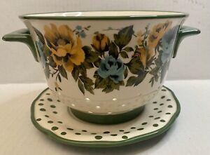 Pioneer Woman Rose Shadow Green Ceramic Berry Colander Strainer Drip Plate Set