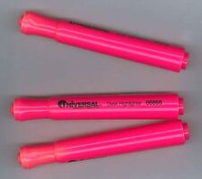 Lot of 3 Flourescent Pink Universal Chisel Felt Tip Highlighters