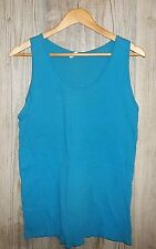 Vintage Blue Tank Top Xl Muscle Shirt Sleeveless Rockabilly Wife Beater Ribbed