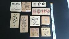 Wooden Rubber Stamps Mixed Theme  Sayings Flowers Christmas Craft Supplies