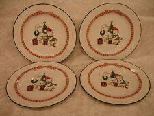 4 Anchor Hocking Christmas Holiday MEMORIES Teddy Bear  Salad Plates #C8400/115