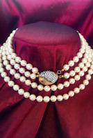 Vintage Vendome Gold Plated Pavé Diamanté Double Strand Hand Knotted Faux Pearls