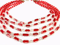 "Beautiful Vintage Five String Red Cased Glass Bead 15"" Collar Necklace BOXED"