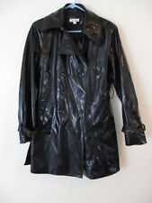 Vintage Pleather Shinny Vinyl black goth costume night out Pea Coat Womens M