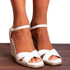 WHITE CANVAS ESPADRILLES WEDGED PLATFORMS WEDGES STRAPPY SANDALS SHOES SIZE 3-8