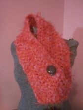 Scarf Cowl Boston Harbor Hot Pink Fruit Punch Streamers Vintage Sculpted Button