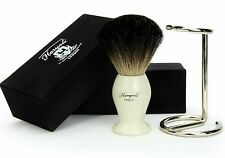100% Black Badger Hair Men Wet Shaving Brush & Durable Steel Stand + Haryali Box