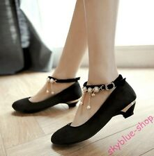 Ladies Faux Suede Round Toe Mary Jane Shoes Cuban Heels Chains Decor Court Shoes