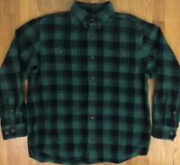 DULUTH TRADING Mens Flannel Shirt Large L Long Sleeve Yellow Blue Green Plaid