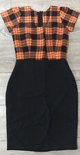 Ladies orange black tartan check summer DRESS  NEW Hand made Size 10