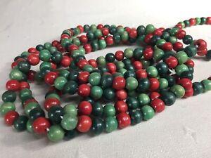Vintage Christmas Garland Red Green Wood Balls Beads 9 Feet Single Strand