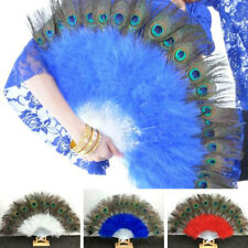 Big Folding Feather Hand Fan Peacock Eye Dance Fan Show Prop Party Fancy Ball