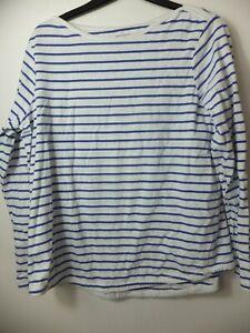 Woman's FatFace Navy Blue Striped Classic Breton T-Shirt UK 16