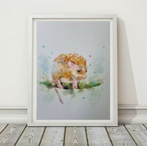 New Original signed certificated watercolour nature art painting Field Mouse