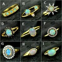 Ethiopian Opal Gemstone Gold Plated Ring Solid 925 Sterling Silver Jewelry