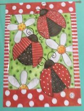 Large 28� X 40� Lady Bugs Floral Theme Spring Summer Garden Art Flag New In Pkg