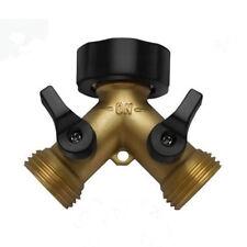 "Garden Hose Splitter Heavy-Duty 2 Way 3/4"" Solid Brass Y Valve Female Connector"