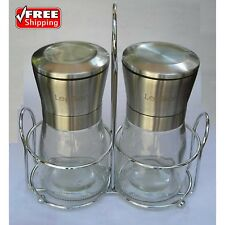 Brushed Stainless Steel Salt And Pepper Grinder Mill Shaker Set Of 2 With Stand