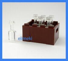 Lego - 6x Clear Milk Rum Bottles Crate Drink Food Utensil- City, Castle, Friends