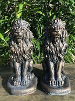 Pair (2) Of Proud Lion Statues Garden Ornament Latex Only Moulds
