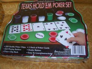TEXAS Hold'em POKER Set 200 CHIPS Rack Felt Cards Cardinal's Professonal NISP