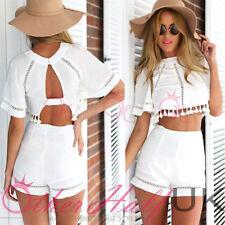 Women's No Pattern Cotton Blend Short Sleeve Jumpsuits & Playsuits