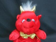 VINTAGE TB TRADING CO. LTD RED DEVIL TEDDY BEAR GOLD BOW PLUSH WHITE HAIR