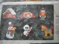 Vintage 1985 Creative Circle Toyland Ornaments Cross Stitch Kit Snowman Angel