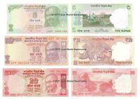 India 5 + 10 + 20 Rupees Set of 3 Banknotes 3 PCS UNC