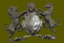 Genuine Bronze British Royal Coat of Arms Wall Crest Plaque Hanging Unicorn Lion