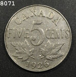 "1926 ""Far 6 *Rare* Canada 5 Cent  *Free S/H After 1st Item*"
