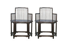 Pair Chinese Oriental HuaLi Wood Hexagon Armchairs cs613