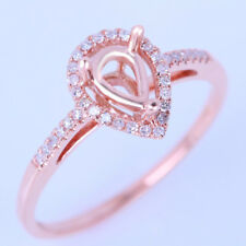 SOLID14K ROSE GOLD NATURAL DIAMOND SEMI MOUNT ENGAGEMENT RING 4X6MM PEAR SETTING