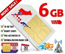 Kroatien Urlaub SIM Croatia INTERNET Hrvatska Ferien prepaid karte 6GB Daten 4G!