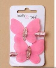 Ladies Girls 2 Pack Fuchsia Pink Chiffon Glitter 4cm Butterfly Hair Snap Clips