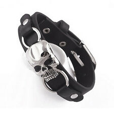 Men's Faux Leather Bracelet Punk Cuff Skull Wristband Jewelry Charms yhd23