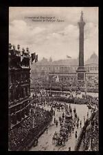 1911 coronation coach procession Trafalgar Square King George V royalty postcard