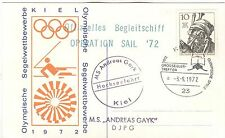 Germany Olympische Spiele Olympic Games 1972 Kiel card shippost MS Andreas Gayk