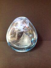 CAITHNESS SCOTLAND YACHT CLEAR & BLUE SHADED GLASS VASE