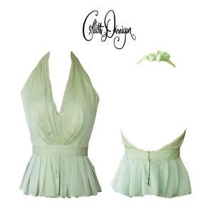 Collette Dinnigan ORIGINAL SAMPLE Avocado Silk Halter evening top - Size XS