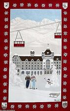 BEAUVILLE, GRAND HOTEL WINTER ALPINE SKIING FRENCH PRINTED KITCHEN / TEA TOWEL